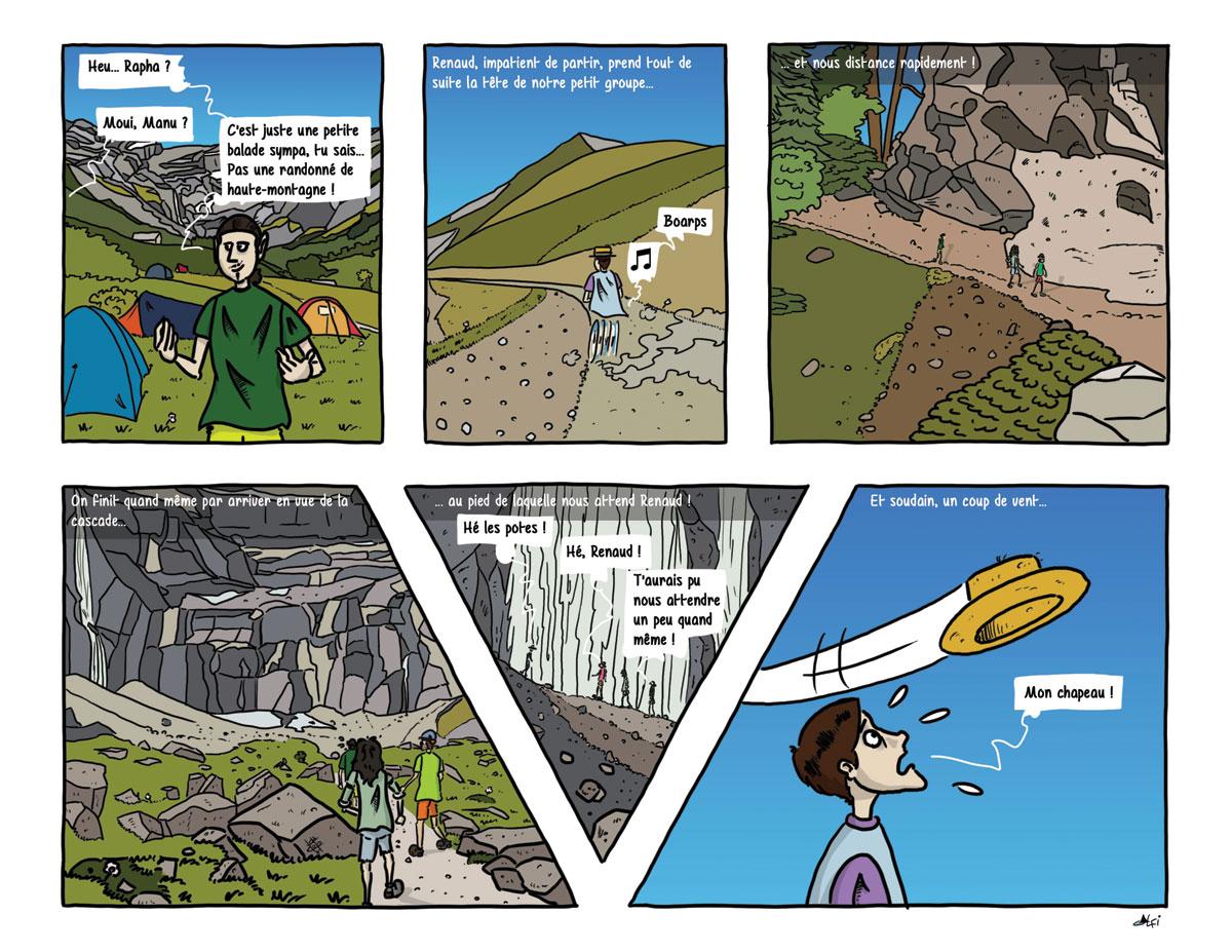 Planche 9, la cascade - BD Pyrénées - Refonte